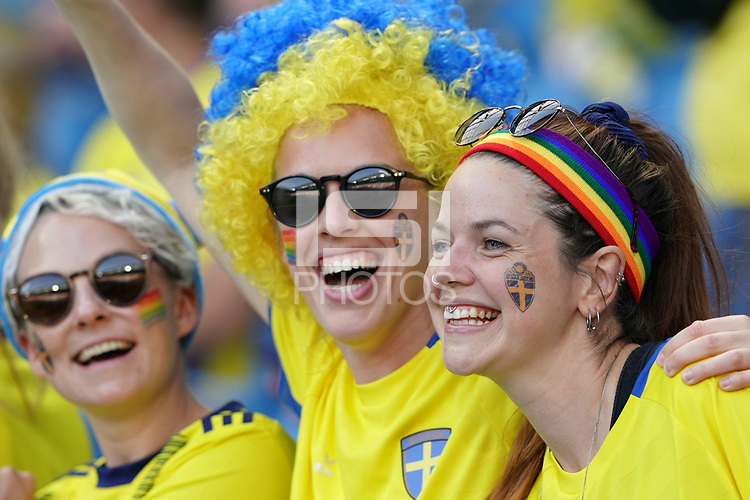 LE HAVRE, FRANCE - JUNE 20: Sweden fans during a 2019 FIFA Women's World Cup France group F match between the United States and Sweden at Stade Océane on June 20, 2019 in Le Havre, France.