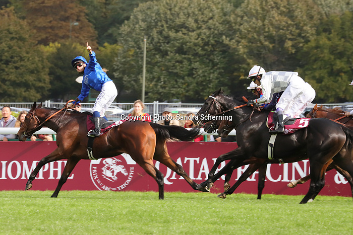 October 06, 2019, Paris (France) - Victor Ludorum (3) with Mickael Barzalona up wins the Qatar Prix Jean-Luc Lagardere (Gr. I) on October 6 in ParisLongchamp. [Copyright (c) Sandra Scherning/Eclipse Sportswire)]
