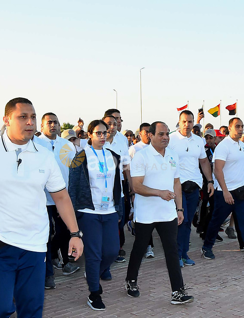 Egyptian President Abdel-Fattah al-Sisi takes part in the World Peace Marathon, in Sharm El Sheikh, Egypt, on November 7, 2017. Photo by Egyptian President Office