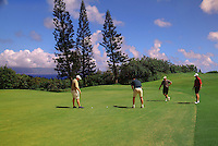 Men playing golf at Kapalua, Maui.