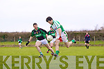 Seamus O'Neill of Na Gaeil races away from David Clancy of Granagh/Ballingarry in the Muster Junior B Football Final last Sunday afternoon in Knockaderry.