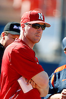 Nebraska Cornhuskers Head Coach Darin Erstad #17 before a game against the Cal State Fullerton Titans at Goodwin Field on February 16, 2013 in Fullerton, California. Cal State Fullerton defeated Nebraska 10-5. (Larry Goren/Four Seam Images)