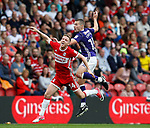 Adam Forshaw of Middlesbrough and Paul Coutts of Sheffield Utd during the Championship match at the Riverside Stadium, Middlesbrough. Picture date: August 12th 2017. Picture credit should read: Simon Bellis/Sportimage