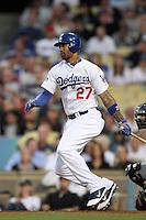 Los Angeles Dodgers outfielder Matt Kemp #27 bats against the Detroit Tigers at Dodger Stadium on June 21, 2011 in Los Angeles,California. (Larry Goren/Four Seam Images)
