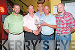 Sean Murphy, President Murphys Bar Golf Society, Killarney, pictured as he presented the prizes from his Presidents Prize in Murphys Bar on Saturday night. Pictured are Kenin O'Carroll, 1st, Brendan Keogh 2nd, Niall O'Mara, 3rd and captain Ger Moroney.
