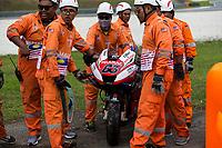 2nd November 2019; Sepang Circuit, Sepang Malaysia; MotoGP Malaysia, Qualifying Day;  Officials retrieve the number 63 Pramac Racing Ducati of Francesco Bagnaia during practice 4 - Editorial Use