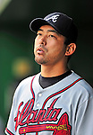 26 September 2010: Atlanta Braves pitcher Takashi Saito stands in the dugout during a game against the Washington Nationals at Nationals Park in Washington, DC. The Nationals defeated the pennant-seeking Braves 4-2 to take the rubber match of their 3-game series. Mandatory Credit: Ed Wolfstein Photo