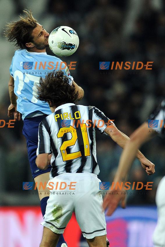 """Lorik Cana Lazio, Andrea Pirlo Juventus.Torino 11/4/2012 Stadio """"Juventus Stadium"""".Football Calcio 2011/2012 Campionato Italiano Serie A.Juventus Vs Lazio.Foto Insidefoto Andrea Staccioli"""