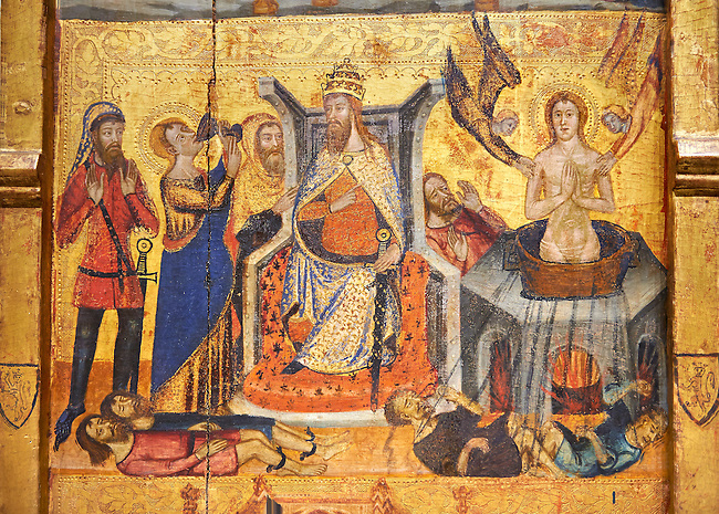 Gothic painted Panel Altarpiece of the Saints John by  Master of Santa Coloma de Queralt. Tempera and gold leaf on wood. Circa 1356. 220.5 x 209.8 x 11.5 cm. From the church of Sant Miquel de Tamarit de Llitera (Huesca). National Museum of Catalan Art, Barcelona, Spain, inv no: 004351-CJT