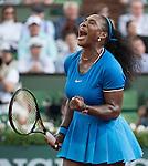 May 28,2016:  Serena Williams (USA) challenged  Kristina Mladenovic (FRA) 6-4, 6-6 when the rain began at  Roland Garros being played at Stade Roland Garros in Paris, .  ©Leslie Billman/Tennisclix