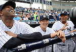 (L-R) CC Sabathia, Masahiro Tanaka, Ivan Nova (Yankees),<br /> FEBRUARY 27, 2014 - MLB :<br /> New York Yankees pitcher Masahiro Tanaka talks with his teammates CC Sabathia and Ivan Nova before a spring training baseball game against the Pittsburgh Pirates at George M. Steinbrenner Field in Tampa, Florida, United States. (Photo by AFLO)