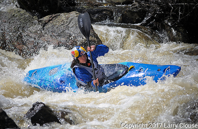 June 8, 2017 - Vail, Colorado, U.S. -  France's, Nouria Newman, paddles her way to victory on Homestake Creek's difficult course in the Steep Creek competition during the GoPro Mountain Games, Vail, Colorado.  Adventure athletes from around the world meet in Vail, Colorado, June 8-11, for America's largest celebration of mountain sports, music, and lifestyle.