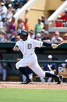 Detroit Tigers outfielder Rajai Davis (20) during a Spring Training game against the Washington Nationals on March 22, 2015 at Joker Marchant Stadium in Lakeland, Florida.  The game ended in a 7-7 tie.  (Mike Janes/Four Seam Images)