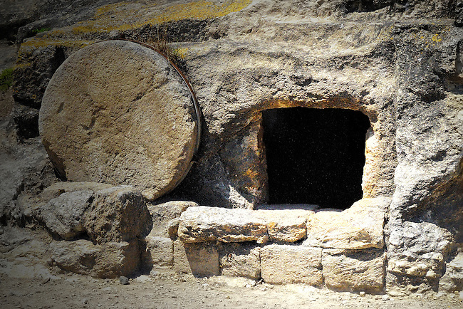 Empty tomb with stone rolled away in Israel
