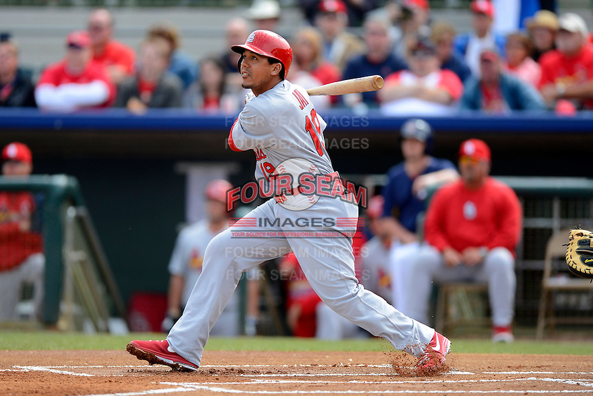 St. Louis Cardinals outfielder Jon Jay #19 during a Spring Training game against the Houston Astros at Osceola County Stadium on March 1, 2013 in Kissimmee, Florida.  The game ended in a tie at 8-8.  (Mike Janes/Four Seam Images)