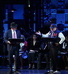 Reggie Jackson, Maggie Gyllenhaal and Danny Burstein during the Curtain Call for the Roundabout Theatre Company presents a One-Night Benefit Concert Reading of 'Damn Yankees' at the Stephen Sondheim Theatre on December 11, 2017 in New York City.