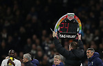 Fourth Official Robert Jones holds the electronic board the is in rainbow colours for the Rainbow laces campaign during the Premier League match at the Tottenham Hotspur Stadium, London. Picture date: 7th December 2019. Picture credit should read: Paul Terry/Sportimage