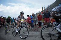 Carlos Betancur (COL/AG2R-LaMondiale) up the dirt roads of the Colle delle Finestre (2178m)<br /> <br /> Giro d'Italia 2015<br /> stage 20: Saint Vincent - Sestriere (199km)