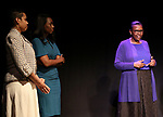 """Leslie Malaika Lewis, Immaculee Ilibagiza and Valentine Rugwabiza, Rwanda Ambassador to the UN on stage during """"Miracle in Rwanda"""" honoring International Day of Reflection on the 1994 Genocide against the Tutsi in Rwanda at the Lion Theatre on Theater Row on April 7, 2019 in New York City."""