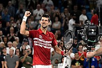 12th January 2020; Sydney Olympic Park Tennis Centre, Sydney, New South Wales, Australia; ATP Cup Australia, Sydney, Day 10; Serbia versus Spain; Novak Djokovic of Serbia versus Rafael Nadal of Spain; Novak Djokovic of Serbia celebrates after defeating Rafael Nadal of Spain - Editorial Use