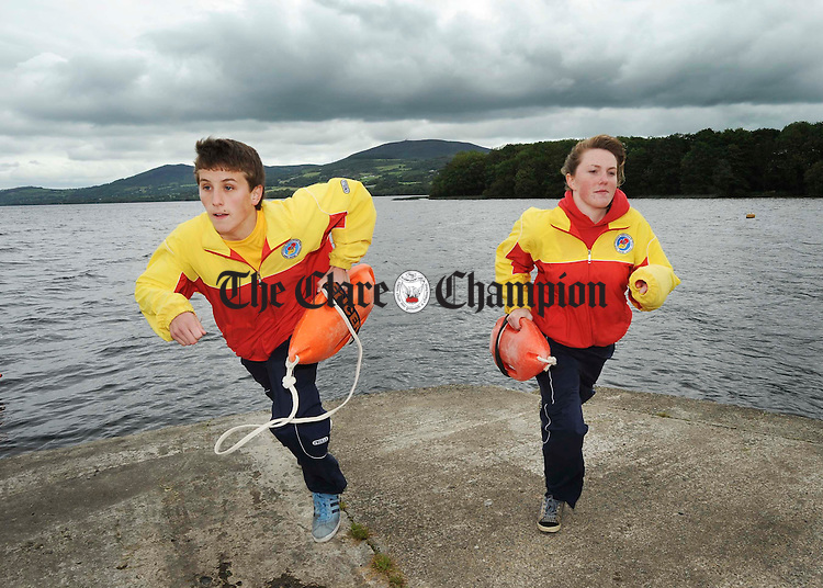 Gary O Donoghue, Ennis and Kate Brooks of Clarecastle. lifeguards at The Two Mile Gate, Ballycuggeran, Killaloe. Photograph by John Kelly.
