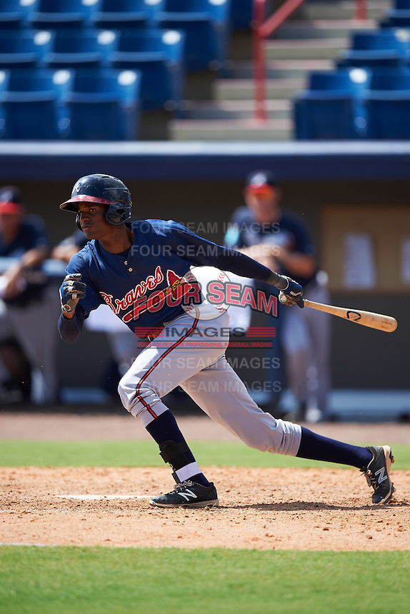 Atlanta Braves Alex Aquino (1) during an Instructional League game against the Washington Nationals on September 30, 2016 at Space Coast Stadium in Melbourne, Florida.  (Mike Janes/Four Seam Images)