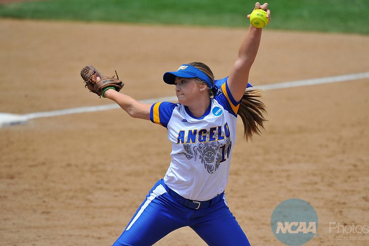SALEM, VA - MAY 29:  Morgan Hill (10) of Angelo State University pitches against Minnesota State University during the Division II Women's Softball Championship held at Moyer Park on May 29, 2017 in Salem, Virginia. Minnesota State defeated Angelo State 5-1 to win the national championship. (Photo by Andres Alonso/NCAA Photos via Getty Images)