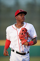 Florida Fire Frogs Cristian Pache (25) jogs to the dugout during a game against the Palm Beach Cardinals on May 1, 2018 at Osceola County Stadium in Kissimmee, Florida.  Florida defeated Palm Beach 3-2.  (Mike Janes/Four Seam Images)