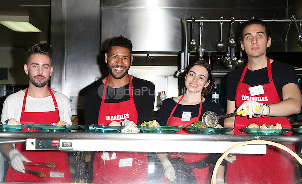 Los Angeles, CA - DECEMBER 23: Andrew Fitzsimons, Jeffrey Bowyer-Chapman, Sophie Simmons, Nick Simmons, At Los Angeles Mission Christmas Celebration, At The Los Angeles Mission In California on December 23, 2016. Credit: Faye Sadou/MediaPunch
