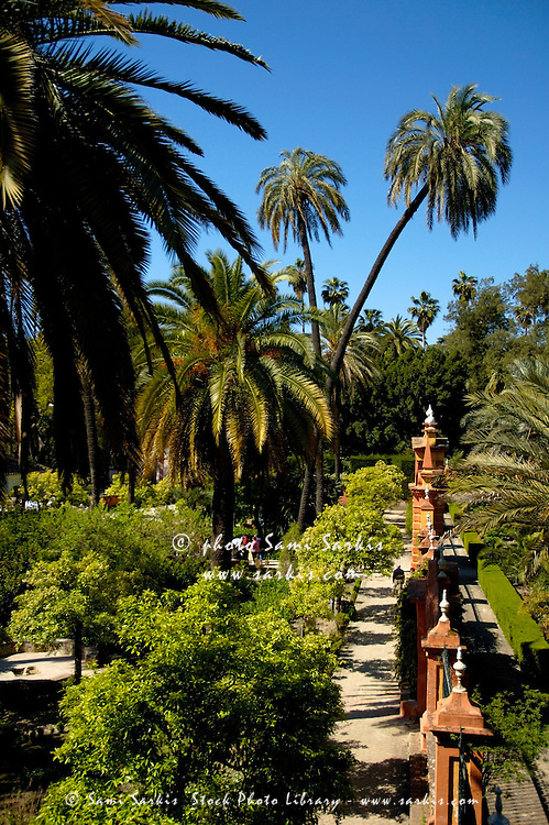 Gardens of Alcazar of Seville from the Almohade Murallas, Andalusia, Spain.