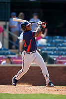 Rome Braves right fielder Justin Smith (40) follows through on a swing during a game against the Lexington Legends on May 23, 2018 at Whitaker Bank Ballpark in Lexington, Kentucky.  Rome defeated Lexington 4-1.  (Mike Janes/Four Seam Images)