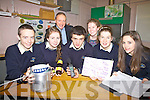 Five projects from Colaiste na Sceilge will travel to The Young Scientist Exhibition in Dublin this month pictured here front l-r; Lonán Collins, Noelle Galvin, Cillian O'Donovan, Eilis Moriarty, Holly Dennehy, back l-r; John O'Connor(Principal) & Aine McCarthy(Science Teacher).