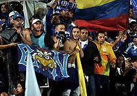 BOGOTA - COLOMBIA - 11 - 03 - 2017: Hinchas de Millonarios animan a su equipo durante partido de la fecha 9 entre Millonarios y America de Cali, por la Liga Aguila I-2017, jugado en el estadio Nemesio Camacho El Campin de la ciudad de Bogota. / Fans of Millonarios cheer for their team during a match between Millonarios and America de Cali, of the date 9 for the Liga Aguila I-2017 played at the Nemesio Camacho El Campin Stadium in Bogota city, Photo: VizzorImage / Luis Ramirez / Staff.
