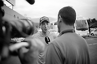 Jens Keukeleire (BEL/Orica-GreenEDGE) interviewed by Sporza at the team hotel<br /> <br /> 2014 Tour de France<br /> stage 15: Tallard - Nîmes (222km)