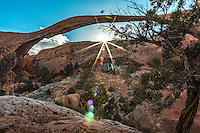Landscape Arch is the longest of the many natural rock arches located in the Arches National Park in Utah, USA. The arch is among many in the area known as Devil's Garden in the north area of the park.