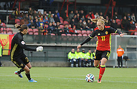 20161023 - TUBIZE , BELGIUM : Belgian Janice Cayman (R) and Russian Iuliia Grichenko (L)  pictured during a friendly game between the women teams of the Belgian Red Flames and Russia at complex Euro 2000 in Tubize , Sunday 23 October 2016 ,  PHOTO Dirk Vuylsteke | Sportpix.Be
