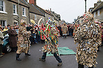 Marshfield Mummers, Boxing Day performance, Gloucestershire, England. 2006. Little Man John sword fight with  King William.