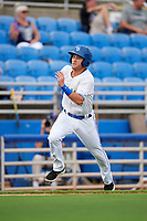 Dunedin Blue Jays shortstop Logan Warmoth (2) runs home during a game against the Lakeland Flying Tigers on July 31, 2018 at Dunedin Stadium in Dunedin, Florida.  Dunedin defeated Lakeland 8-0.  (Mike Janes/Four Seam Images)