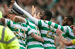 29.04.18 Celtic v Rangers: Lustig celebrates with a police hat