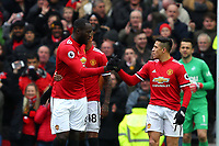 Romelu Lukaku and Alexis Sanchez celebrates their sides first goal during the Premier League match between Manchester United and Swansea City at the Old Trafford, Manchester, England, UK. Saturday 31 March 2018