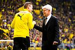 11.05.2019, Signal Iduna Park, Dortmund, GER, 1.FBL, Borussia Dortmund vs Fortuna Düsseldorf, DFL REGULATIONS PROHIBIT ANY USE OF PHOTOGRAPHS AS IMAGE SEQUENCES AND/OR QUASI-VIDEO<br /> <br /> im Bild | picture shows:<br /> Reinhard Rauball (Praesident BVB) begruesst Lukasz Piszczek (Borussia Dortmund #26),<br /> <br /> Foto © nordphoto / Rauch