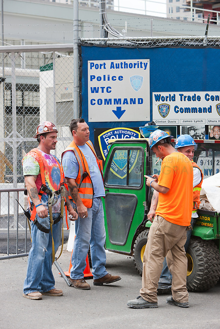 Workers at the One World Trade Center construction site take a smoke break