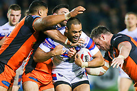 Picture by Alex Whitehead/SWpix.com - 27/04/2018 - Rugby League - Betfred Super League - Castleford Tigers v Wakefield Trinity - Mend-A-Hose Jungle, Castleford, England - Wakefield's Bill Tupou is tackled by Castleford's Matt Cook, Junior Moors and Grant Millington.