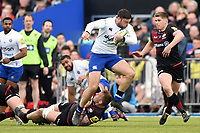 Matt Banahan of Bath Rugby takes on the Saracens defence. Aviva Premiership match, between Saracens and Bath Rugby on April 15, 2018 at Allianz Park in London, England. Photo by: Patrick Khachfe / Onside Images
