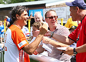 June 17th 2017, Gander Green Lane, Sutton, England; Football Charity Match; Chelsea Legends versus Rangers Legends; Rangers player Marco Negri greets fans before kick off