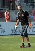 18 July 2012: Colorado Rapids goalkeeper Matt Pickens #18 takes warm-up during an MLS game between the Colorado Rapids and Toronto FC at BMO Field in Toronto, Ontario..Toronto FC won 2-1..