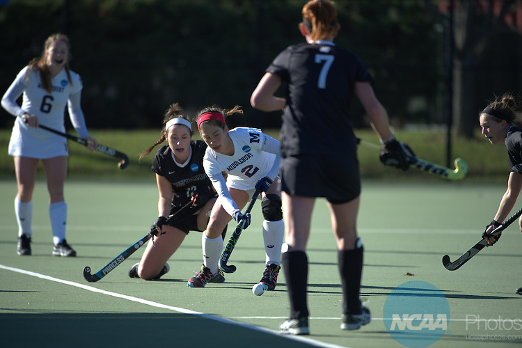 22 NOV 2015:  Anna Kenyon (2) of Middlebury College advances upfield against Bowdoin College during the Division lll Women's Field Hockey Championship held at the Turf Field on the Washington and Lee University campus in Lexington, Va. Middlebury defeated Bowdoin 1-0 for the national title. Pete Emerson/NCAA Photos