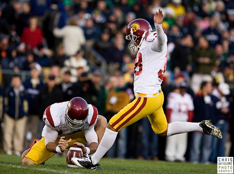 10/17/09 - South Bend, IN:  USC kicker Jordan Congdon scores an extra point in the fourth quarter against Notre Dame during their game at Notre Dame Stadium on Saturday.  USC won the game 34-27 to extend its win streak over Notre Dame to 8 games.  Photo by Christopher McGuire.
