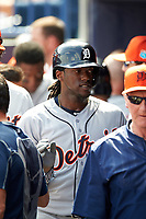 Detroit Tigers outfielder Cameron Maybin (4) high fives teammates during a Spring Training game against the New York Yankees on March 2, 2016 at George M. Steinbrenner Field in Tampa, Florida.  New York defeated Detroit 10-9.  (Mike Janes/Four Seam Images)