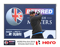 Aaron Rai (ENG) on the 10th tee during the Pro-Am of the Betfred British Masters 2019 at Hillside Golf Club, Southport, Lancashire, England. 08/05/19<br /> <br /> Picture: Thos Caffrey / Golffile<br /> <br /> All photos usage must carry mandatory copyright credit (© Golffile | Thos Caffrey)